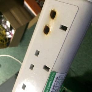 Burnt Extension Socket