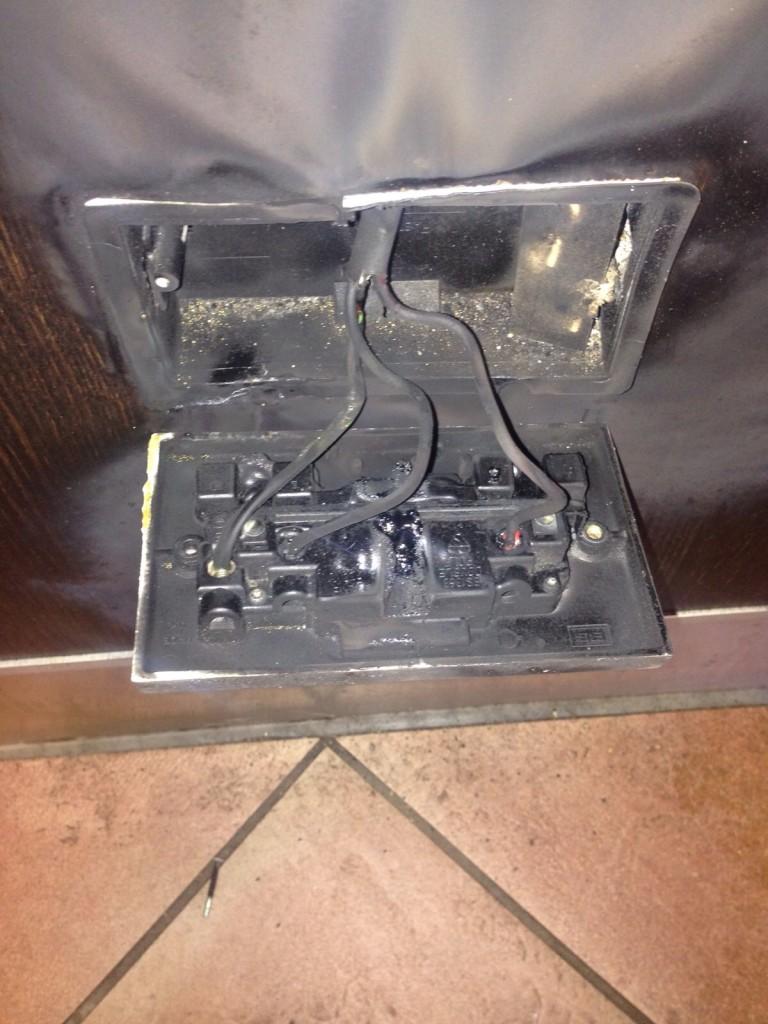 burnt electrical socket
