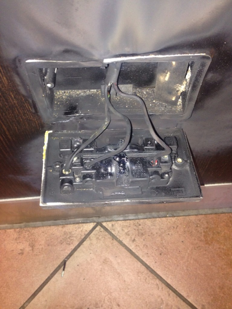 burnt electrical socket